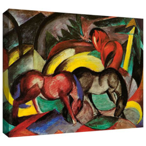 Three Horses by Franz Marc Painting Print on Gallery Wrapped Canvas