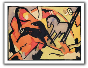 Two Horses by Franz Marc Art Print on Rolled Canvas