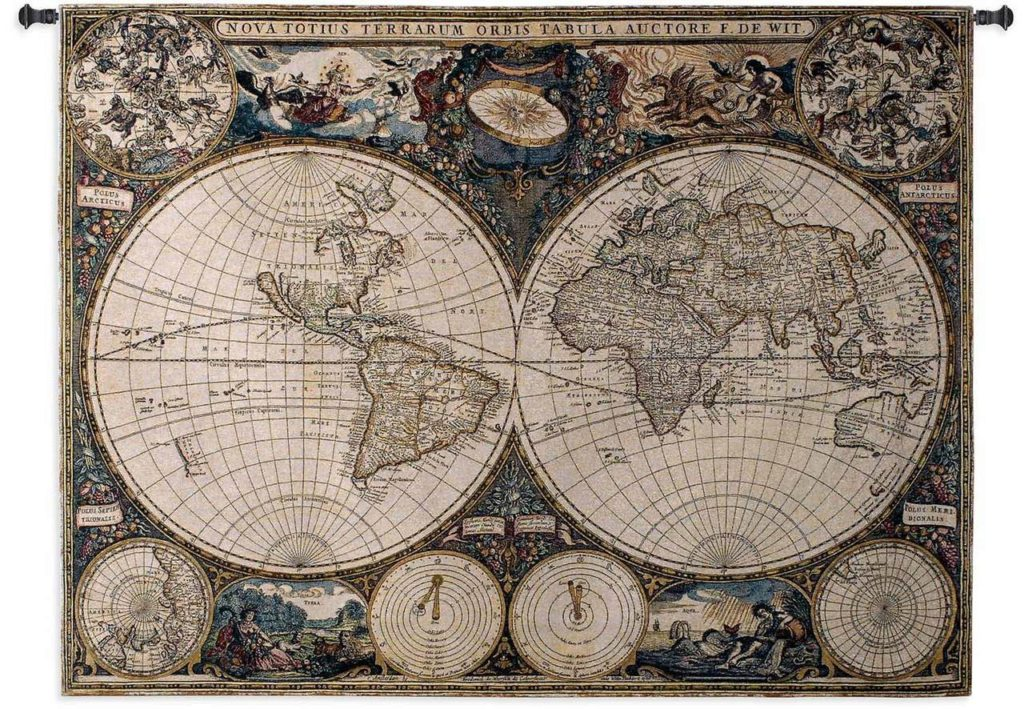 World Map Tapestries | Olde World Map Wall Tapestry