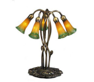Five Light Lily Amber/Green Louis Comfort Tiffany Stained Glass Lamp