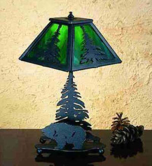 Grizzly Bear And Pine Accent Rustic Lodge Table Lamp