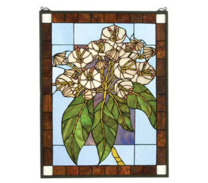 "Mountain Laurel | Stained Glass Panel | 20"" W X 26"" H"