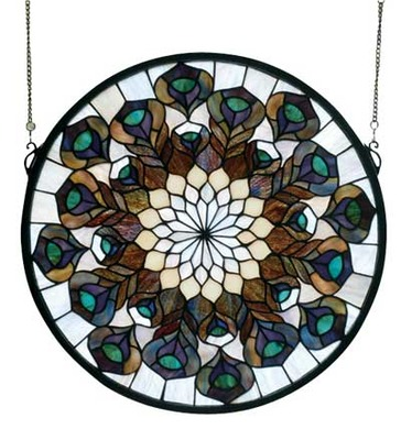 """Peacock Feather Medallion   Stained Glass Window   17"""" W X 17"""" H"""