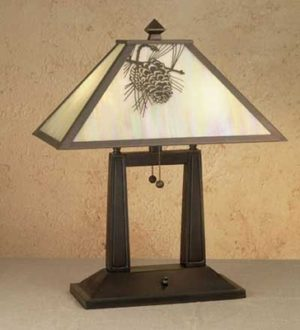 Oblong Pine Cone Desk Table Lamp