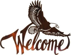 """Laser Cut Art ~ 20"""" Winged Eagle Welcome Sign 