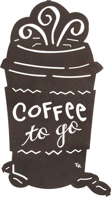 Coffee Decor for Coffee Lovers | Tara Reed Steel Art Collection | Coffee To Go | 16″ | Contemporary Metal Wall Art