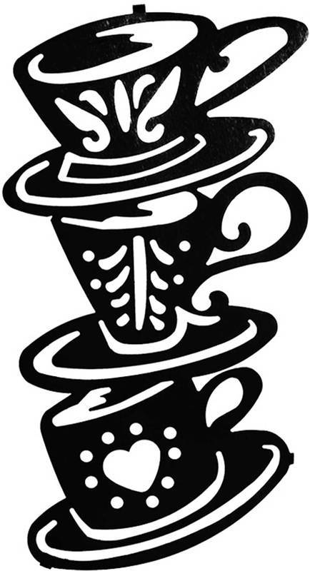 Coffee Decor for Coffee Lovers | Coffee House Stack Laser Cut Art | 16″ | Contemporary Metal Wall Art