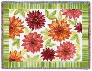 Dahlias Floral Tapestry Throw Blanket   70 x 54