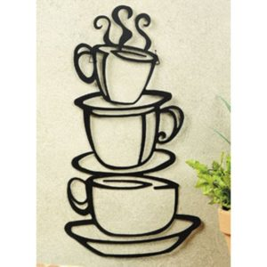 """Stacked Coffee Cups Silhouette Metal Wall Art 