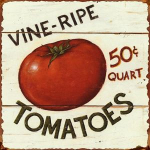Vine-Ripe Tomatoes Vintage Tin Sign