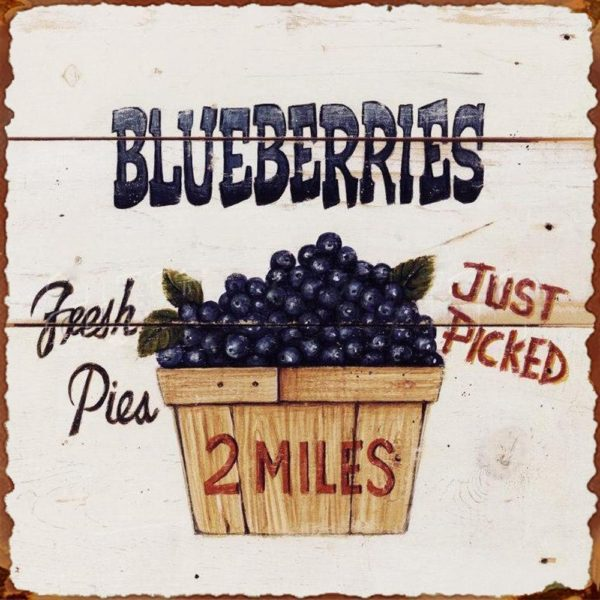 Fresh Picked Blueberries Vintage Tin Sign