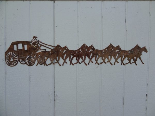 "Stagecoach and Horses Country Metal Wall Art | 47"" Wide"