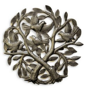 """Crossing Trees   Haitian Metal Wall Art from Recycled Oil Drums   15"""""""