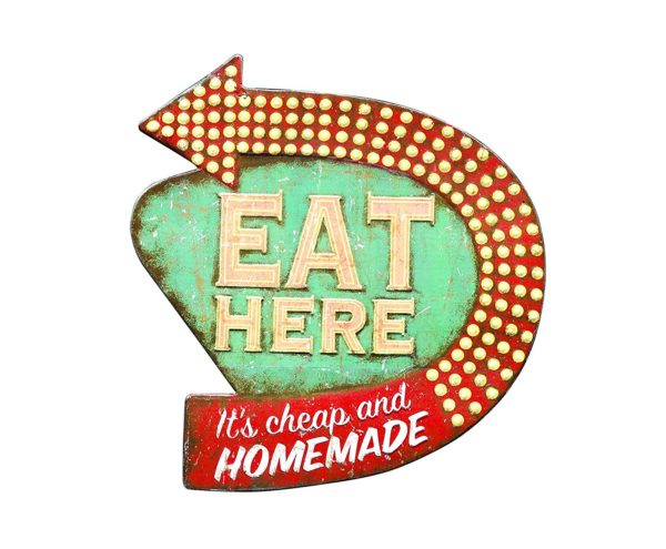 Rustic Retro EAT HERE Tin Sign Metal Wall Art