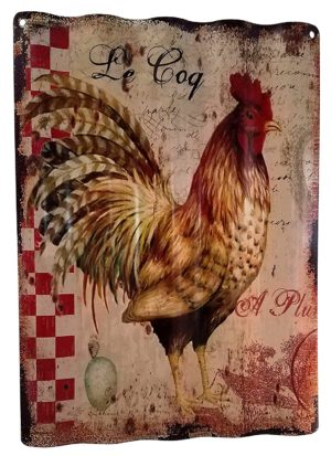 French Country Rooster Corrugated Metal Wall Art
