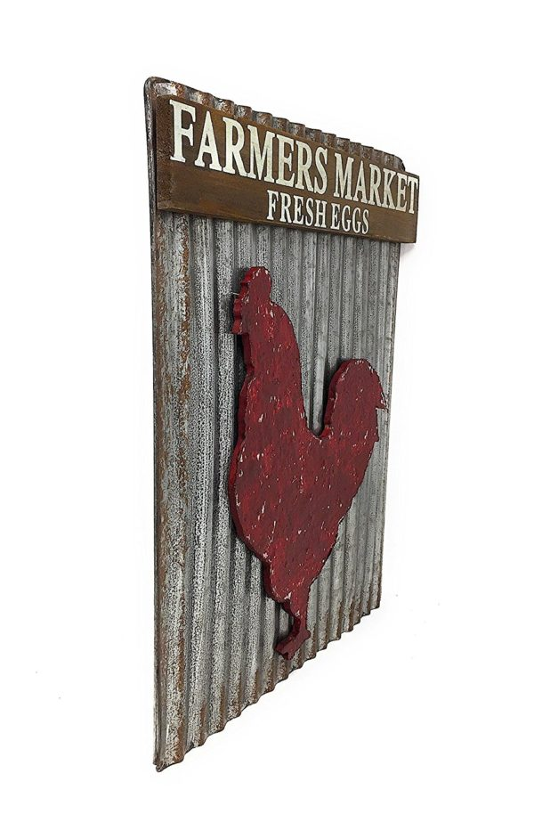 Farmers Market Country Style Corrugated Metal Wall Art