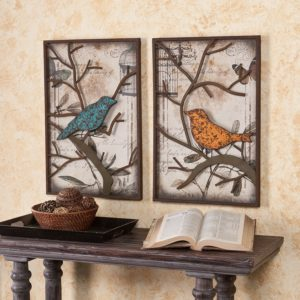 Colorful Birds Metal Wall Art Set