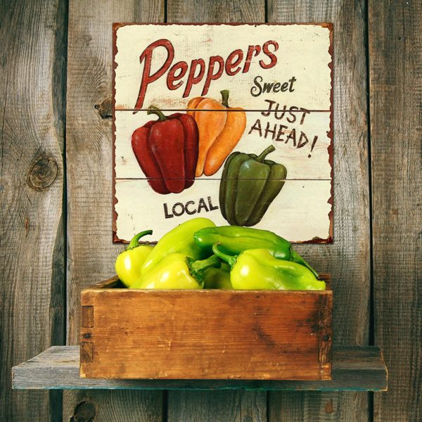 Sweet Peppers Vintage Tin Sign