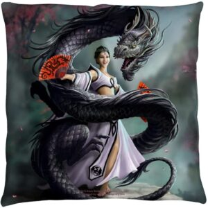 Retro Anne Stokes Dragon Dancer Throw Pillow