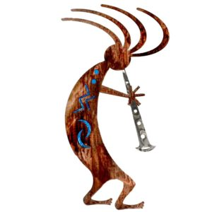Blue Kokopelli Dancer Metal Wall Art