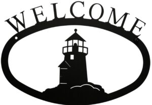 Large Rustic Wrought Iron Welcome Sign - Lighthouse
