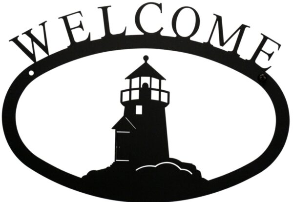 Lighthouse Large Rustic Wrought Iron Welcome Sign