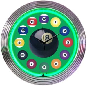 Neonetics 8 Ball & Billiard Balls Retro Neon Clock