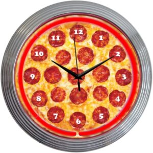 Neonetics Retro Pepperoni Pizza Neon Clock