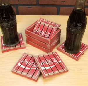 Retro Coca-Cola Wood Crate Pallet Coaster Set Vintage Style