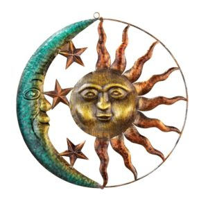 Artistic Sun and Moon Metal Wall Art