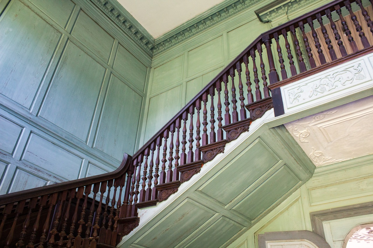 Old country farmhouse staircase