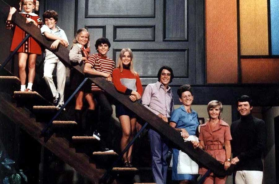 Iconic photo of the Brady Bunch on the stairs