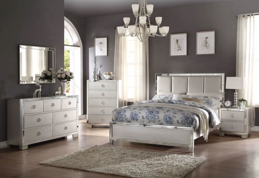 Sophisticated Glam Gray Bedroom
