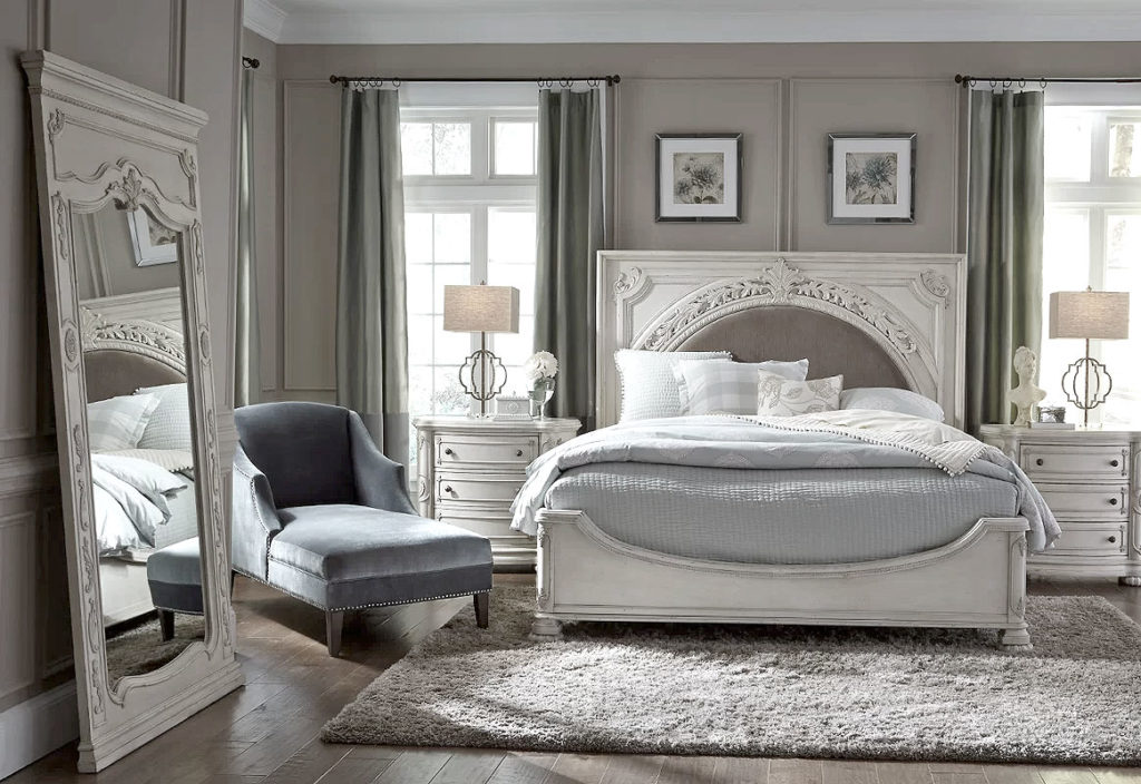 Traditional Bedroom Design in Gray & Antique White