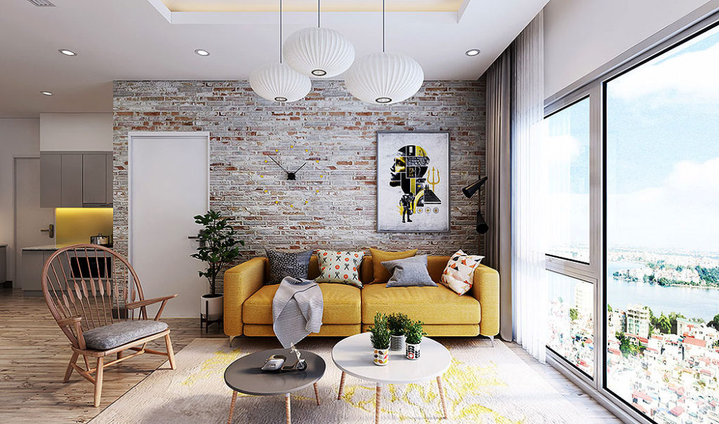 Distressed Brick Wall Living Room by Lai Phap