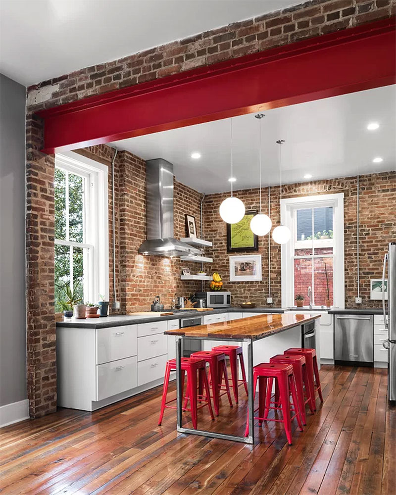 Exposed Brick Industrial Kitchen