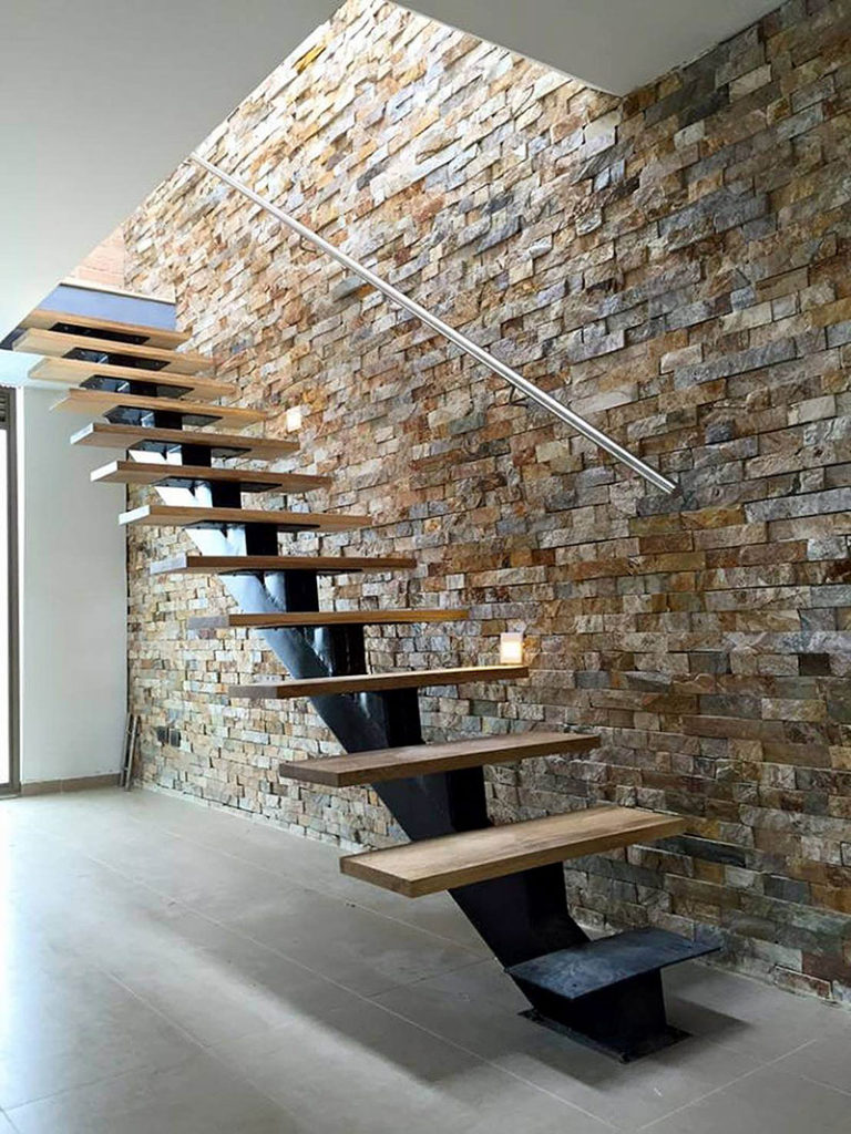 Floating Staircase Stone Wall