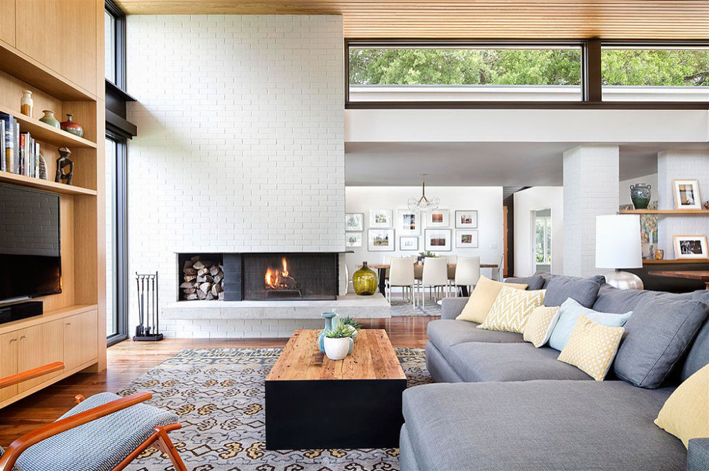 Modernist White Brick Fireplace by A Parallel
