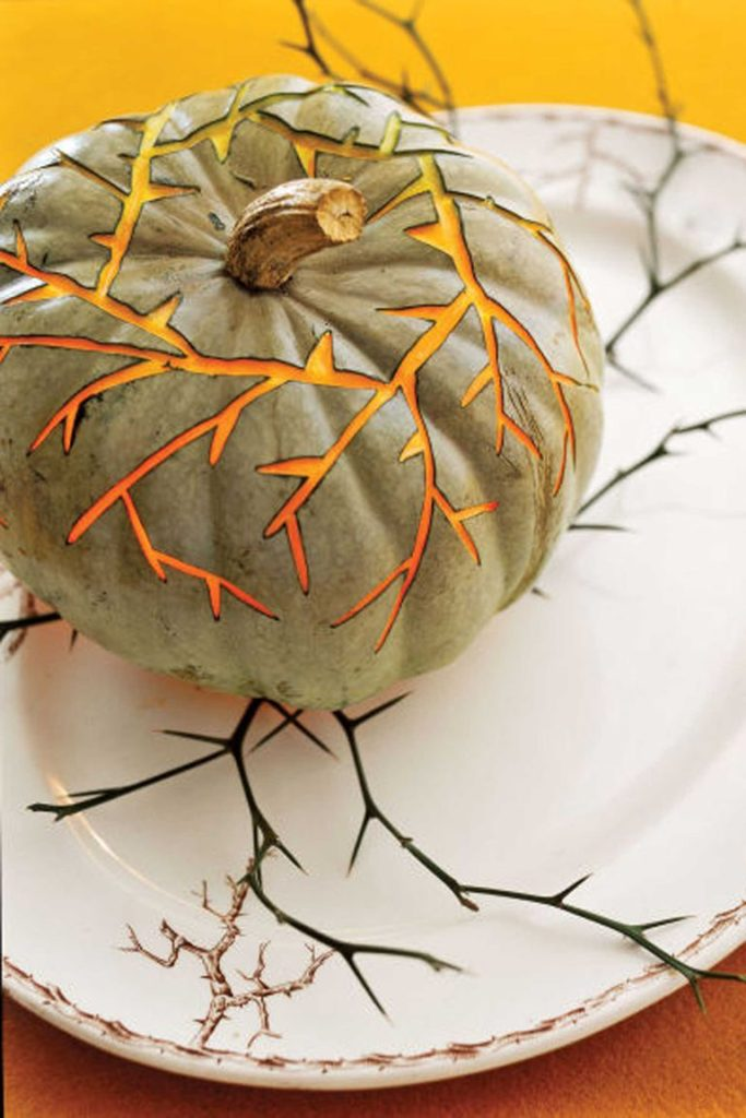 Thorny Vines Carved Pumpkin Table Setting