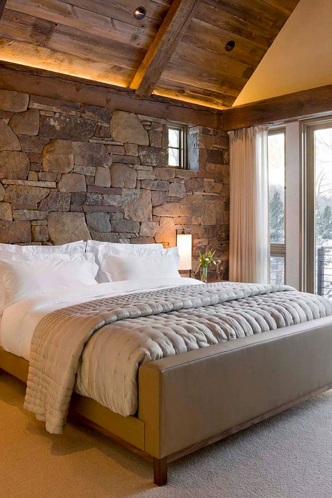 Quarry Stone Rustic Bedroom Wall