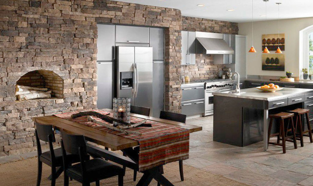 Stone Clad Kitchen Wall