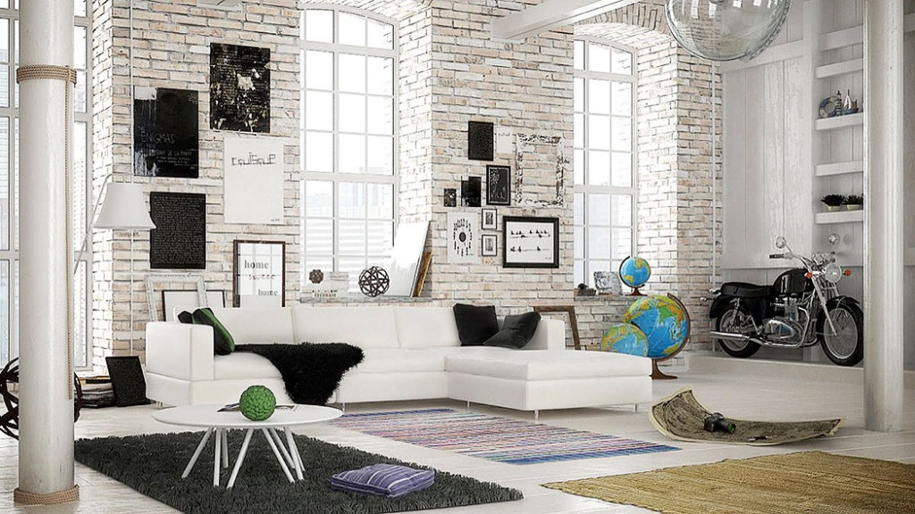 White Washed Urban Loft Brick Walls