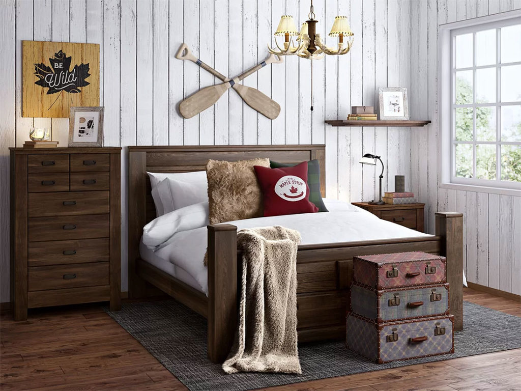 Whitewashed Rustic Bedroom
