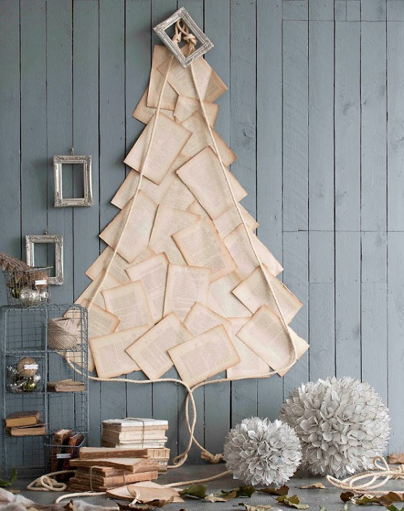 Book Pages Collage Unique Christmas Tree