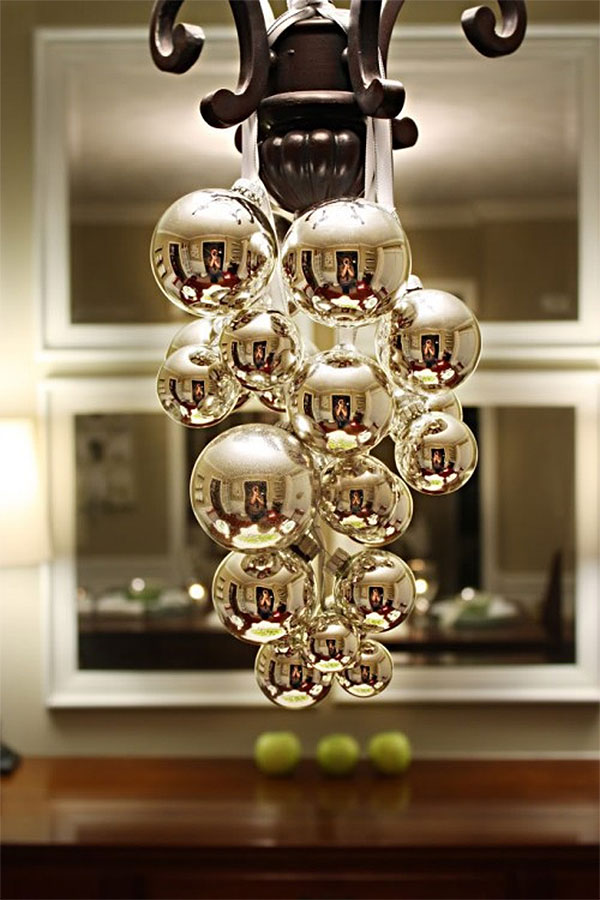 Cascading Gold Christmas Ornaments Chandelier