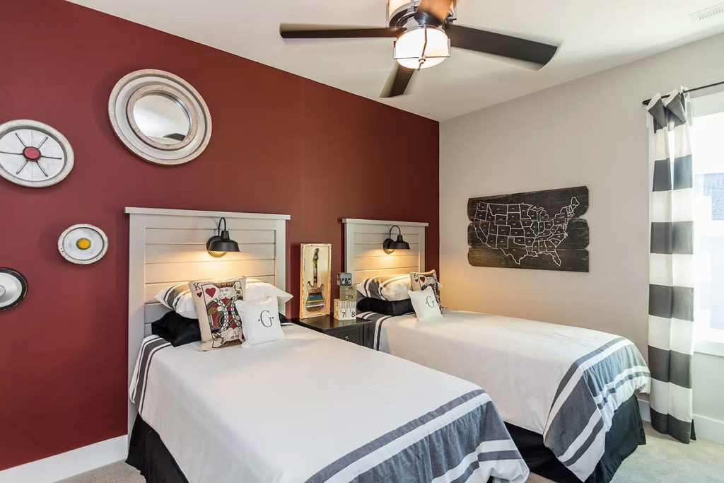 Cottage Country Red Guest Bedroom with Twin Beds