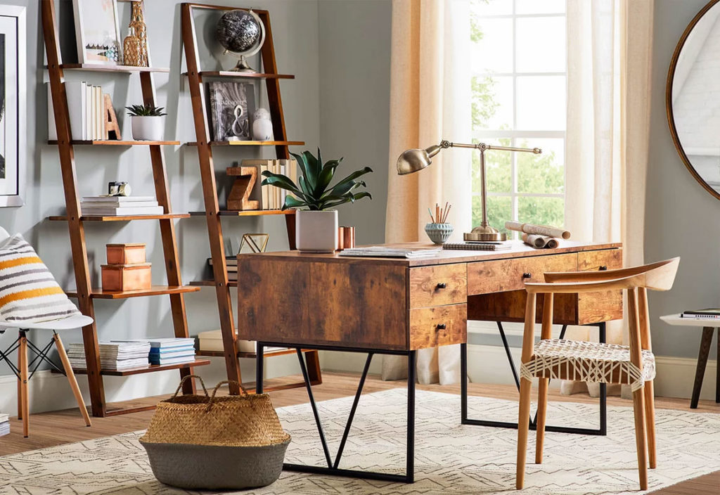 Eclectic Rustic Wood Home Office Design