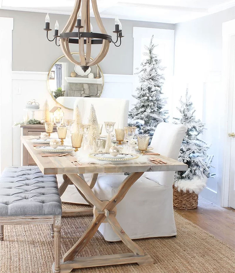 Frosted Cottage Christmas Table Setting