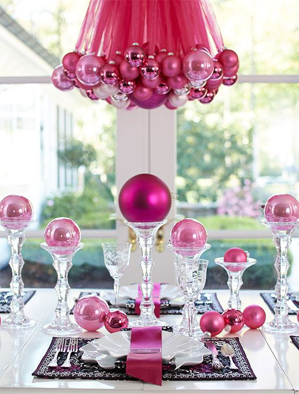 Pretty in Pink Christmas Ribbons & Ornaments Chandelier