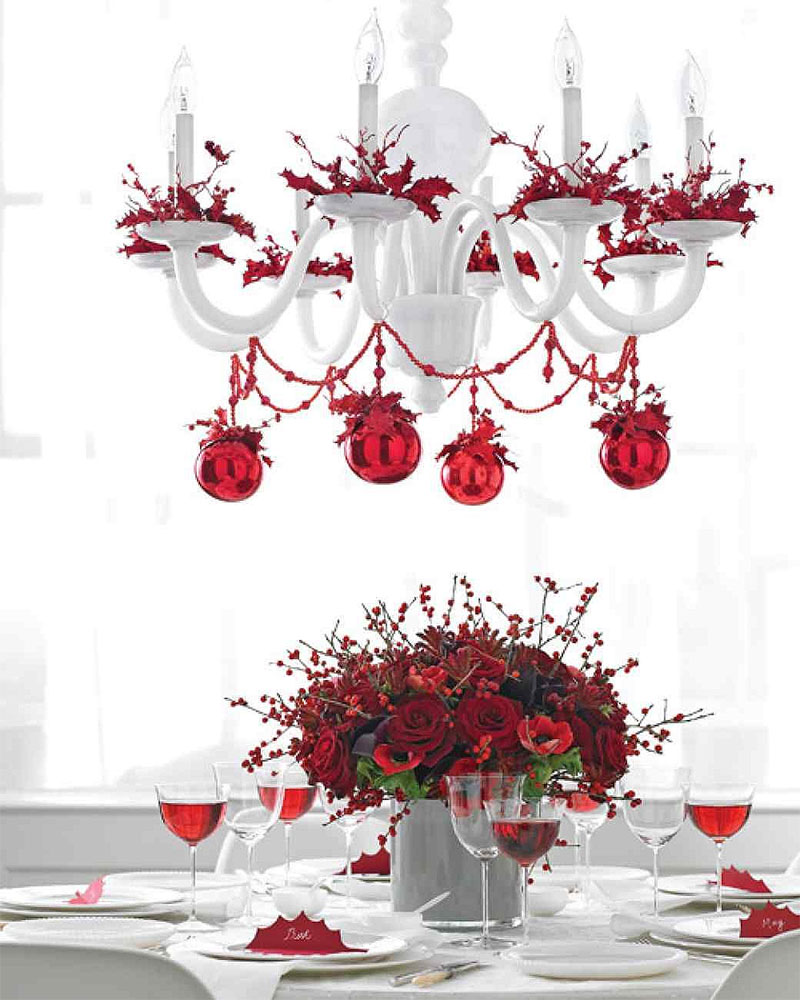 Red and White Christmas Chandelier
